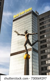 World Trade Center, Crown Plaza building and Hermes statue, Moscow, January 7, 2013.