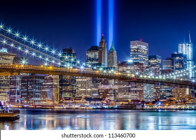 World Trade Center Lights over Manhattan