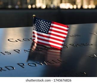 World Trade Center Memorial Reflecting Pool Flag Names Rememberance