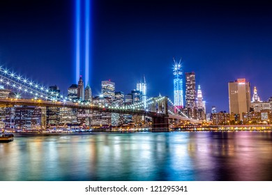 World Trade Center Tribute in Light as seen at night from Brooklyn across the East River on September 11, 2012.