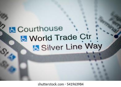 World Trade Ctr Station. Boston Metro map.