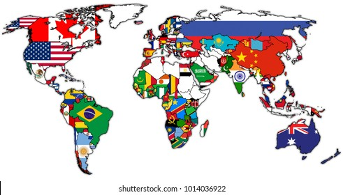 World Trade Organization member countries flags on world map with national borders
