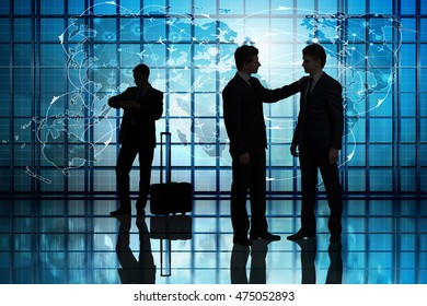 World travel concept with businessmen