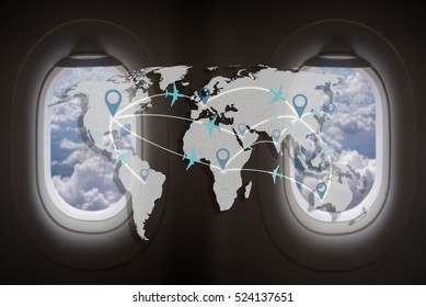 world travel concept,airline icon connection with world map on windows a plane