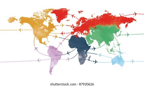 world trip on painted world airline map or flight path travel plans.and routes