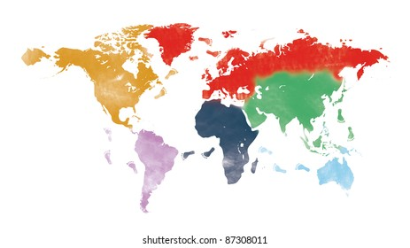world trip on painted world map and traveler's footprint isolated on white