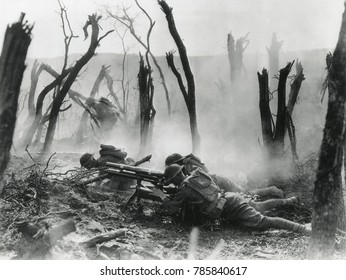 World War 1. American gun crew from the 23rd Infantry, firing a French 37mm cannon in World War I action in Belleau Wood. June 3, 1918