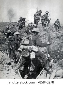 World War 1. Battle of Arras (April 9-12, 1917). The second wave of British infantry leaves their trenches. The battle was planned to draw German forces away from the Nivelle Offensive, 80 miles to th