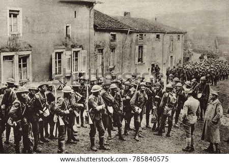World War 1: Battle of St. Mihiel. American troops who have been under fire in France during the first independent American operation of World War 1. Sept. 12-16, 1918.