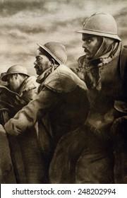 World War 1: the Battle of Verdun. French soldiers in a front line trench during the Battle of Verdun. 1916.