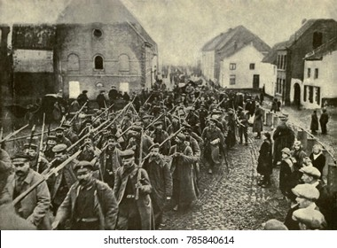 World War 1. The beaten German Army, retreating back to Germany after the final failure of the 1918 offensives. Sept-Oct. 1918.