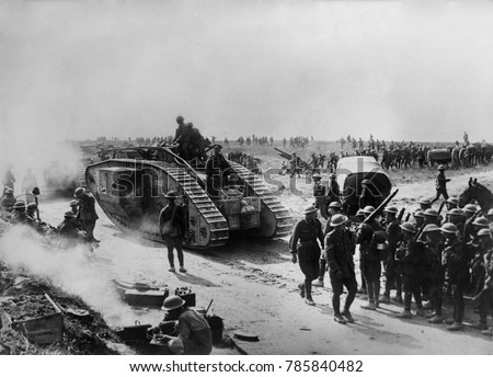 World War 1. British forces in Bapaume, France, site of a battle from August 21 through Sept. 3, 1918. Building on the victory of Battle of Amiens, the Allied counter offensive would drive the Germans
