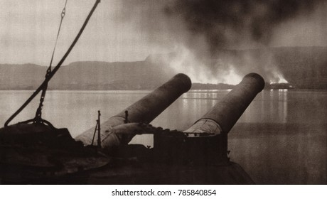 World War 1. The British and French abandoned their Dardanelles campaign in Jan. 1916 and burning all stores and equipment that could not be removed. Fires on the shores of Suvla Bay are seen from the