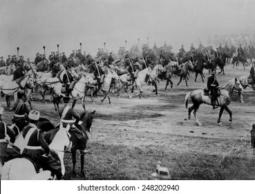 World War 1. Czar Nicolas II reviewing Russian troops. When Russia entered World War One, its army was the largest, but least modern of the major European powers. Ca. 1910-1915.