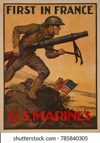 World War 1. First in France--U.S. Marines. 1917 recruiting poster showing a Marine carrying a mortar into combat. A symbolic group of Marines arrived in France in July 1917, but most American soldier