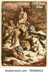 World War 1. French drawing called the Rampart of Amiens, by Lucian Jonas. French, British, and Belgian soldiers hold the Germans back at Amiens in 1918.