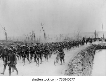 World War 1. German soldiers marching toward Albert, France during the German Offensive of Spring 1918.