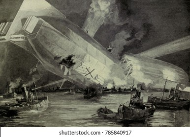 World War 1. German Zeppelin L15crashed in the Thames estuary after it was downed by a British airman. The dirigible broke in the middle and fell into the sea. The German fliers surrendered to patrol