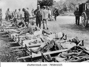 World War 1 in the Italian and Austrian Alps. Austrian wounded at Field Hospital on the Isonzo front. The Italian army advanced to the Isonzo River in 1915 and held their positions against the Austria