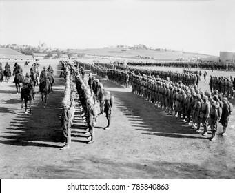 World War 1 in the Middle East. Turkish commander Cemal Pasha and German Chief of Staff, Kress von Kressenstein, review Ottoman Empire troops in Jerusalem. 1917