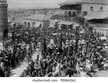World War 1 in the Middle East. Turkish military procession through a Jerusalem crowd at the Jaffa Gate. At the beginning of the WW1, Islamic people made up 76% of the population of Palestine. Ca. 191