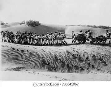 World War 1 in the Middle East. British naval landing party pulling field gun and caisson across the Mesopotamian desert. In the early months of the war British troops captured Basra, the chief city o