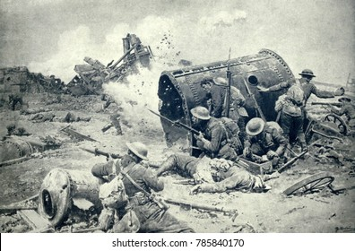 World War 1. Somme Offensive. Canadian soldiers fighting at Courcellette, Sept. 15, 1916, around the sugar refinery. Men lobbed bombs from behind the cover of parts of the destroyed refinery. The batt