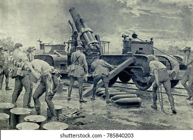 World War 1. Somme Offensive. British heavy Howitzer shelling German positions during the last week of June 1916 before the Battle of the Somme. British generals assumed the shelling would destroy mos