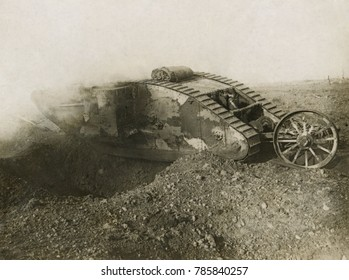World War 1. Somme Offensive. One of the larger British tanks, the Mark I, spanning an enemy trench. The tank was introduced by the British on Sept. 15, 1916, during the Battle of Flers-Courcelette, o