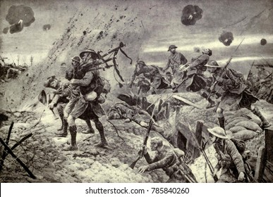 World War 1. Somme Offensive. Scottish Highland regiment advancing under fire during the taking of Longueval, July 28, 1916. The Battle for Longueval and Delville Wood was fought from July 14, through