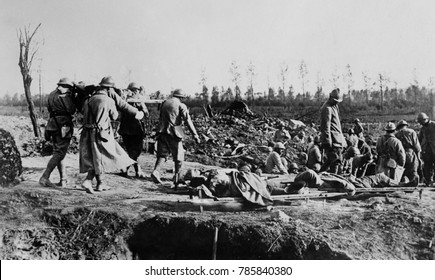 World War 1. Somme Offensive. French Red Cross station on the front. There are several soldiers on stretchers in the foreground. Ca. Sept.-Nov. 1916.