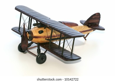 World War 1 type wood model biplane over white