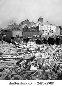 World War 2, Battle of Britain. A Union Jack flag lies among the rubble of homes smashed by a German missile, either a V-1 or V-2. Camberwell Road, London, 1944-45.