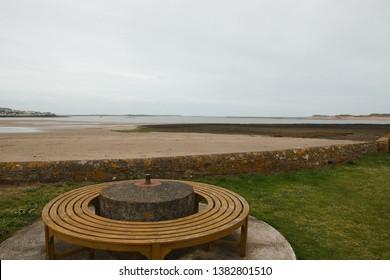 A World War 2 era anti-tank spigot mortar coastal defence emplacement with a view of its original field of fire