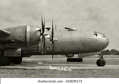 World War 2 era heavy bomber on the ground black and white