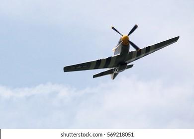 World War 2 era P-51 Mustang flying over Potomac River.   May 8, 2015