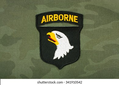World War 2 -  insignia US Army 101st Airborne Division on reconstruction group uniform.