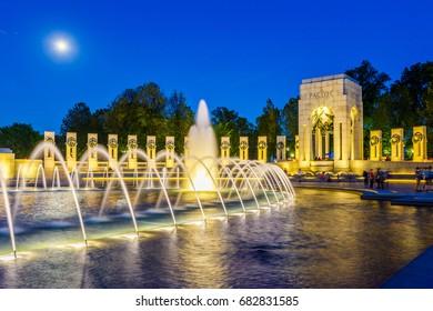 World War 2 Memorial at night, Washington DC