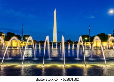 World War 2 Memorial and Washington Monument at Night, Washington DC