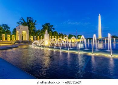 World War 2 Memorial and Washington Monument, Washington DC, at night.