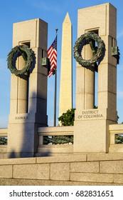 World War 2 Memorial and Washington Monument, Washington DC