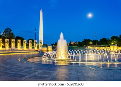World War 2 Monument and Washington Monument at Night, Washington DC