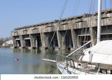 World War II enemy submarine bunkers in Bordeaux, France