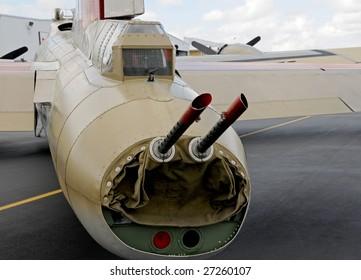 World War II era bomber rear view and guns