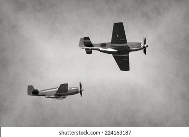 World War II era fighter planes on a mission