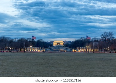 World War II and Lincoln Memorials in Washington DC at dusk. Arlington Skyline is visible in the background.