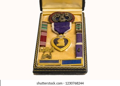 World War II Medals, Purple Heart, 82nd Airborne Paratrooper Insignia.