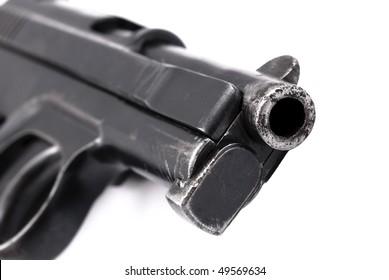 World War II officer pistol detail isolated on white