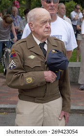 World War II Veteran holds hat on Memorial Day, 2011, Concord, MA