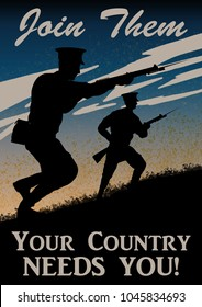 World War One recruitment poster. British solider silhouette. Original computer illustration.